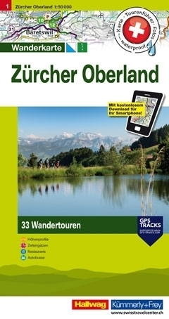 ZURICH OBERLAND wodoodporna mapa turystyczna 1:50 000 Kummerly + Frey