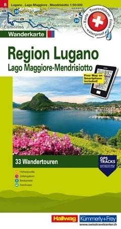 LUGANO I OKOLICE - JEZIORO MAGGIORE - MENDRISIOTTO wodoodporna mapa turystyczna 1:50 000 Kummerly + Frey