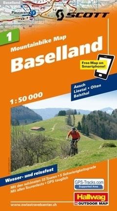 BAZYLEA BASELLAND wodoodporna mapa rowerowa 1:50 000 Hallwag