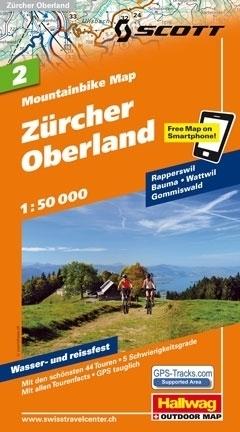 ZURCHER OBERLAND wodoodporna mapa rowerowa 1:50 000 Hallwag