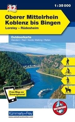 OBERER MITTELRHEIN laminowana mapa turystyczna 1:35 000 KUMMERLY FREY