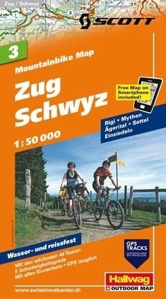 ZUG - SCHWYZ wodoodporna mapa rowerowa 1:50 000 Hallwag