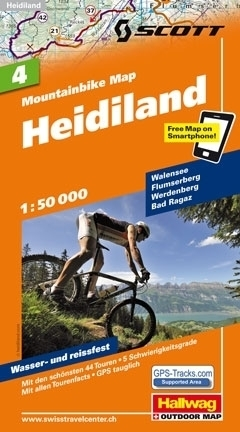 HEIDILAND wodoodporna mapa rowerowa 1:50 000 Hallwag
