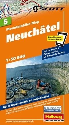 NEUCHATEL wodoodporna mapa rowerowa 1:50 000 Hallwag