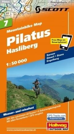 PILATUS - HASLIBERG wodoodporna mapa rowerowa 1:50 000 Hallwag