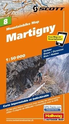 MARTIGNY wodoodporna mapa rowerowa 1:50 000 Hallwag