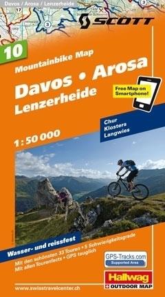 DAVOS - AROSA - LENZERHEIDE wodoodporna mapa rowerowa 1:50 000 Hallwag