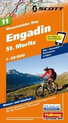 ENGADYNA - ST MORITZ wodoodporna mapa rowerowa 1:50 000 Hallwag