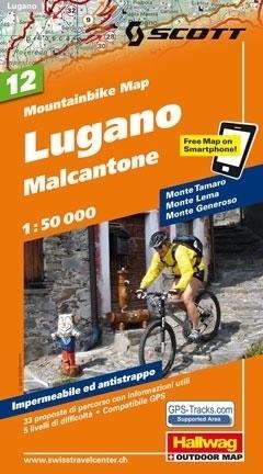 LUGANO - MALCANTONE wodoodporna mapa rowerowa 1:50 000 Hallwag