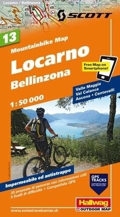 LOCARNO - BELLINZONA wodoodporna mapa rowerowa 1:50 000 Hallwag