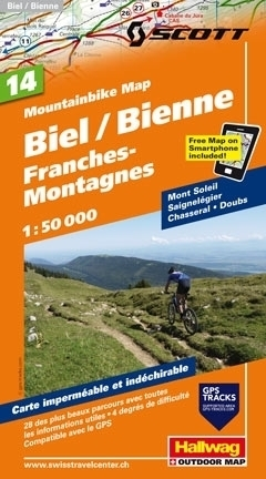 BIEL BIENNE - GORY FRANCHES wodoodporna mapa rowerowa 1:50 000 Hallwag