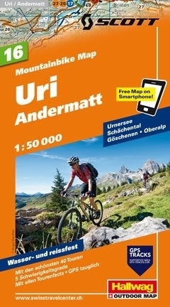 URI - ANDERMATT wodoodporna mapa rowerowa 1:50 000 Hallwag