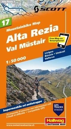 ALTA REZIA - VAL MUSTAIR wodoodporna mapa rowerowa 1:50 000 Hallwag