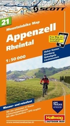APPENZELL - RHEINTAL wodoodporna mapa rowerowa 1:50 000 Hallwag