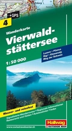 JEZIORO CZTERECH KANTONÓW wodoodporna mapa turystyczna 1:50 000 Hallwag