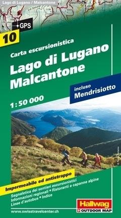 JEZIORO LUGANO - MALCANTONE wodoodporna mapa turystyczna 1:50 000 Hallwag
