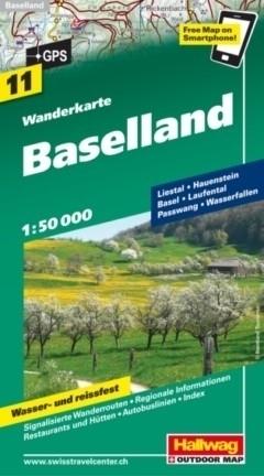 BAZYLEA BASELLAND wodoodporna mapa turystyczna 1:50 000 Hallwag