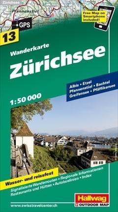 JEZIORO ZURYSKIE ZURICHSEE wodoodporna mapa turystyczna 1:50 000 Hallwag