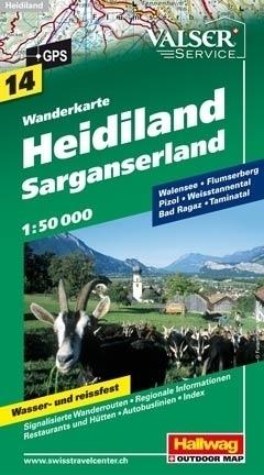 HEIDILAND - SARGANSERLAND wodoodporna mapa turystyczna 1:50 000 Hallwag