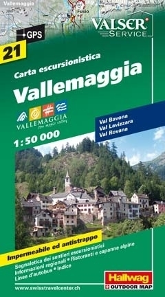 DOLINA MAGGIA VALLEMAGGIA wodoodporna mapa turystyczna 1:50 000 Hallwag