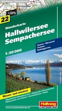 JEZIORO HALLWIL I SEMPACH HALLWILERSEE - SEMPACHERSEE wodoodporna mapa turystyczna 1:50 000 Hallwag
