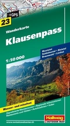 KLAUSENPASS wodoodporna mapa turystyczna 1:50 000 Hallwag