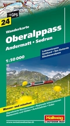 OBERALPPASS - ANDERMATT - SEDRUN wodoodporna mapa turystyczna 1:50 000 Hallwag