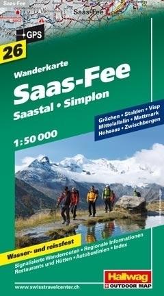 SAAS FEE - SAASTAL - SIMPLON wodoodporna mapa turystyczna 1:50 000 Hallwag