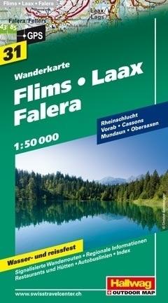 FLIMS - LAAX - FALERA wodoodporna mapa turystyczna 1:50 000 Hallwag