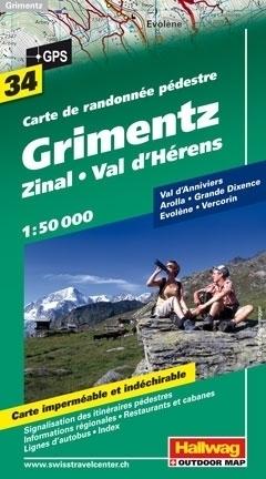 GRIMENTZ - ZINAL - VAL D HERENS wodoodporna mapa turystyczna 1:50 000 Hallwag