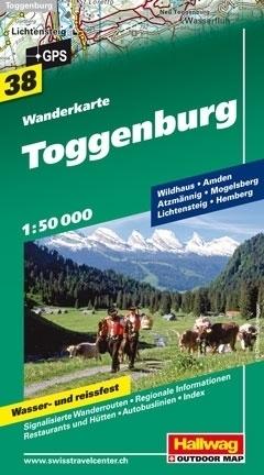 TOGGENBURG wodoodporna mapa turystyczna 1:50 000 Hallwag