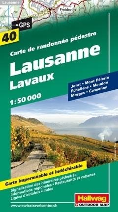 LOZANNA - LAVAUX wodoodporna mapa turystyczna 1:50 000 Hallwag