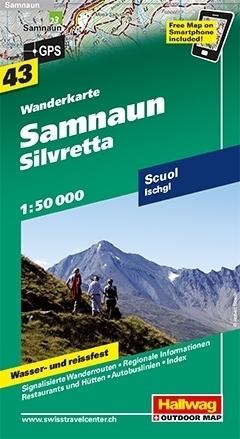 SAMNAUN - SILVRETTA wodoodporna mapa turystyczna 1:50 000 Hallwag