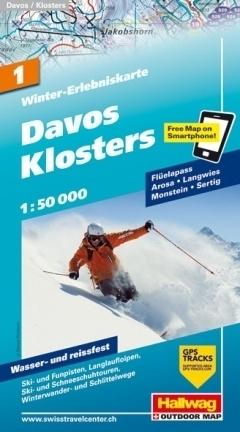 DAVOS - KLOSTERS wodoodporna mapa zimowa 1:50 000 Hallwag