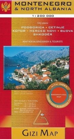 CZARNOGÓRA - ALBANIA PÓŁNOCNA mapa geograficzna 1:200 000 (Montenegro & North Albania Geographical Map) GIZIMAP