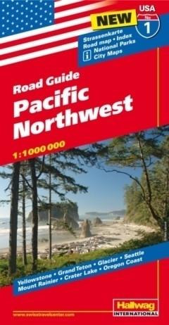 USA PÓŁNOCNY ZACHÓD ROAD GUIDE 01 USA Northwest  mapa samochodowa 1:1 000 000  HALLWAG