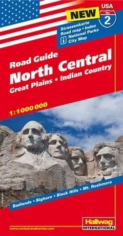 USA PÓŁNOC CENTRUM ROAD GUIDE 02 USA North Cenral mapa samochodowa 1:1 000 000  HALLWAG