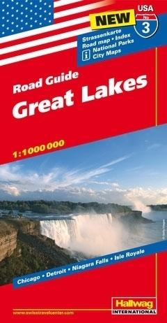 USA WIELKIE JEZIORA ROAD GUIDE 03 USA Great Lakes mapa samochodowa 1:1 000 000  HALLWAG