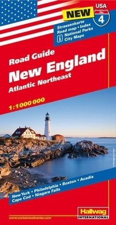 USA NOWA ANGLIA ROAD GUIDE 04 USA New England Atlantic Northeast mapa samochodowa 1:1 000 000  HALLWAG
