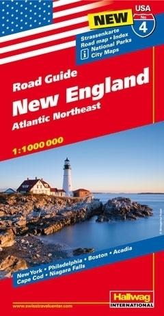 USA NOWA ANGLIA ROAD GUIDE 04 USA New England Atlantic Northeast mapa samochodowa 1:1 000 000  HALLWAG