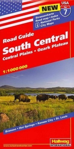 USA POŁUDNIE CENTRUM ROAD GUIDE 07 USA South Central 07 Central Plains - Ozark Plateau mapa samochodowa 1:1 000 000  HALLWAG
