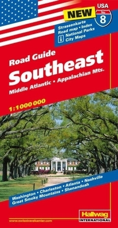 USA POŁUDNIOWY WSCHÓD ROAD GUIDE 08 USA Southeast 08 Middle Atlantic - Appalachian Mts. mapa samochodowa 1:1 000 000  HALLWAG