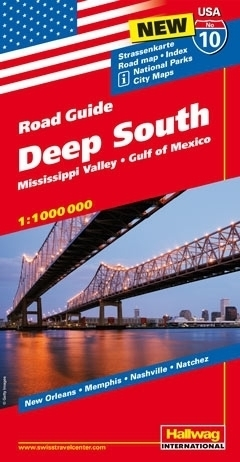 USA POŁUDNIE ROAD GUIDE 10 USA Deep South Mississippi Valley - Gulf of Mexico mapa samochodowa 1:1 000 000  HALLWAG