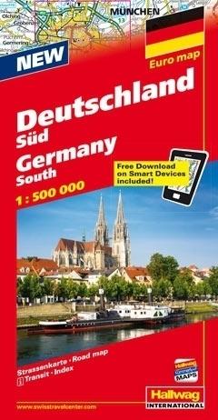 NIEMCY POŁUDNIOWE Euro map Deutschland Sud mapa samochodowa 1:500 000  HALLWAG