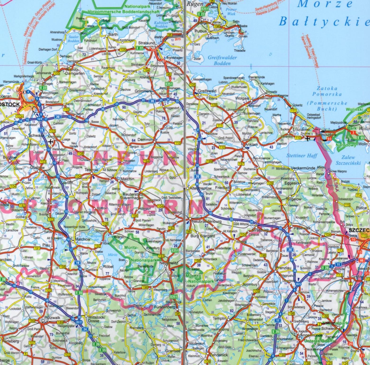 Niemcy Laminowana Mapa Samochodowa 1 900 000 Expressmap 2016