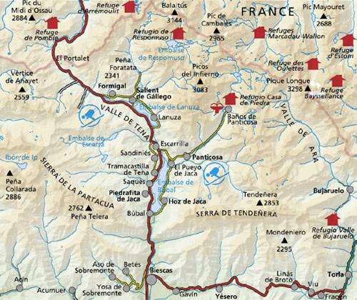 Valle De Tena Mapa.Valle De Tena Sierra Tendenera Mapa 1 40 000 Alpina