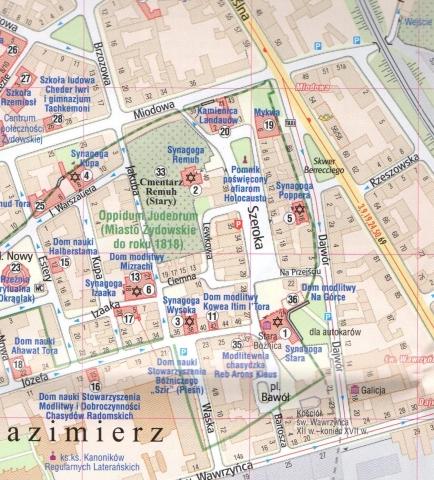 Krakow Mapa Zabytkow Zydowskich 1 4 000 Gauss