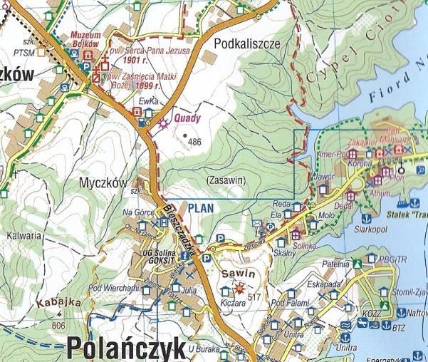 Solina Polanczyk Bieszczady Mapa Turystyczna Laminowana 1 25 000